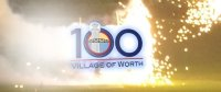 100 Year Anniversary logo with fireworks in the background